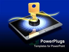 PowerPoint template displaying large brass key protruding out of a silver touch screen tablet computer on a dark in the background.