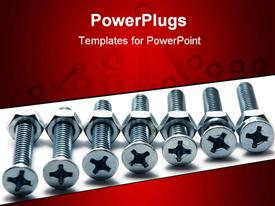 Silver screws being screwed into hex nuts powerpoint design layout