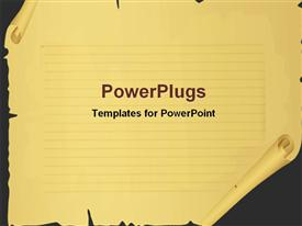 PowerPoint template displaying scroll paper in the background.