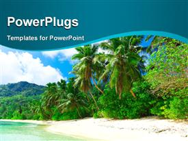 PowerPoint template displaying beautiful sea dream palms on a coastal shore