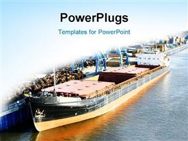 PowerPoint template displaying sea ship in the port and copy space for text in the background.