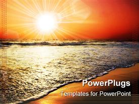 PowerPoint template displaying sun set view of the shores of a beach