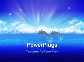 PowerPoint template displaying pair jumping dolphin on background rising sun in the background.
