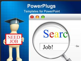 PowerPoint template displaying searching of job for unemployed people