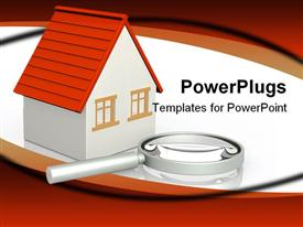 PowerPoint template displaying magnifying glass placed beside white three dimensional bungalow