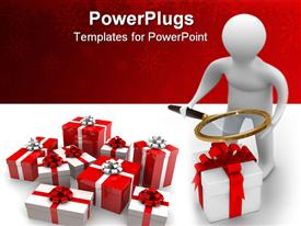PowerPoint template displaying search of gifts. Isolated 3D depiction