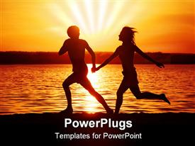 PowerPoint template displaying happy couple running with hands held together on beach with sunset