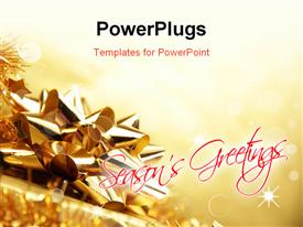 PowerPoint template displaying shinning Christmas background with a golden gift