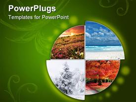 PowerPoint template displaying collage showing the four climatic seasons in green background