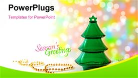 Plastic Christmas tree with golden beads on a colorful bokeh background presentation background