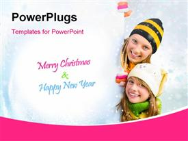Winter teenage Girls peeking from behind blank sign billboard powerpoint design layout