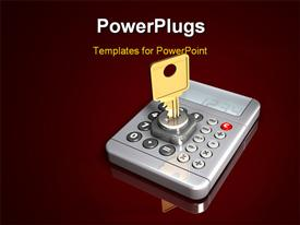 PowerPoint template displaying large gold key protruding out of a simple gray calculator on a dark red