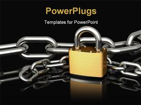 Brass padlock sitting in front of two strings of chrome chains powerpoint design layout