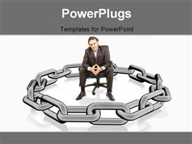Businessman is surrounded by chains representing security template for powerpoint