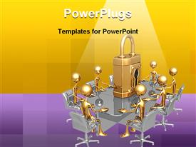 Concept and presentation figure in 3D represents Security Meeting powerpoint theme