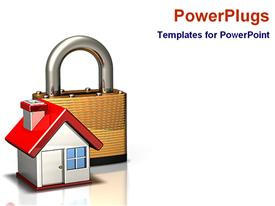 Icon of a lock and house for security template for powerpoint