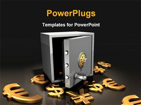 PowerPoint template displaying small silver secured safe with different currency symbols around
