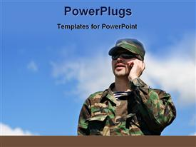PowerPoint template displaying military man with shades on making phone call over blue cloudy sky