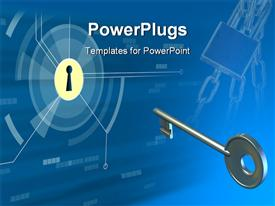 PowerPoint template displaying silver key for lock on a blue background as a metaphor for problem and solution