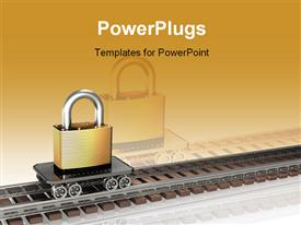 Large brass padlock sitting on top of a simple railway cart presentation background