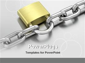 PowerPoint template displaying lock and a chain