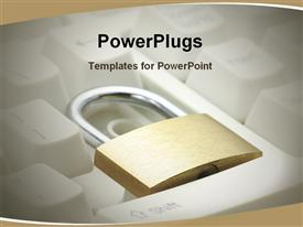 PowerPoint template displaying a keyboard with a lock and brownish background