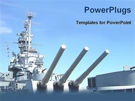 PowerPoint template displaying navy ship in the background.