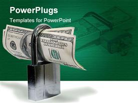 PowerPoint template displaying padlock protecting hundred dollar bills on green and white background