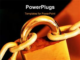 Padlock and chain with golden tone. Security concept template for powerpoint