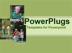 PowerPoint template displaying a beautiful depiction of a family doing various activities