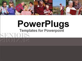 PowerPoint template displaying a number of families with kids and place for text