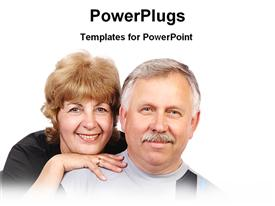 PowerPoint template displaying an elderly male and female couple smiling over a white background