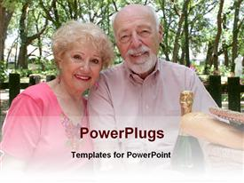 PowerPoint template displaying two elderly humans smiling with a champagne bottle beside them