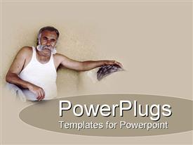 PowerPoint template displaying tanned aged man sporting healthy full grey moustache leans back ready to talk story