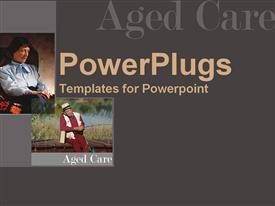 PowerPoint template displaying elderly man fishing, old woman in chair, aging, elder care, geriatrics, senior citizens