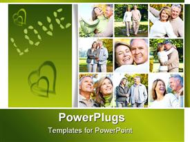 PowerPoint template displaying happy elderly seniors couple in park. Love