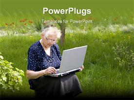 Grandma In Garden powerpoint template