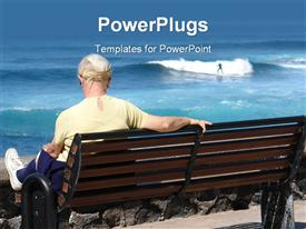 PowerPoint template displaying matured lady sitting on a beach bench watching a man surfing
