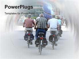 PowerPoint template displaying lots of elderly people riding motorcycle's on a road