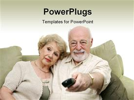 Seniors watching television together and switching channels. White background powerpoint design layout