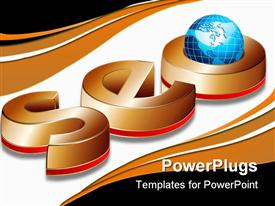 PowerPoint template displaying acronym SEO, standing for Search Engine Optimization in the background.