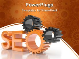PowerPoint template displaying sEO - Search Engine symbol with gears