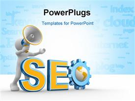 PowerPoint template displaying 3D man pushing rendering of text SEO over blue background