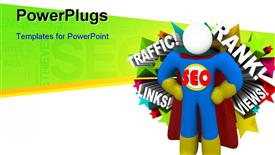 Superhero with an emblem reading SEO has arrived presentation background