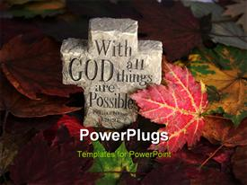 PowerPoint template displaying leaves of fall with rock cross and spiritual saying engraved on it