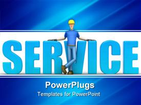 PowerPoint template displaying animated large blue service text with a human in front