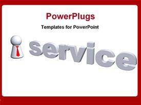 PowerPoint template displaying the word service with white background