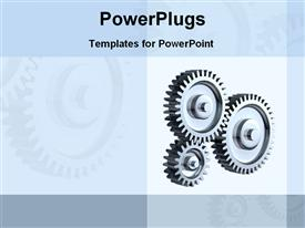 PowerPoint template displaying three connected gears on grey background