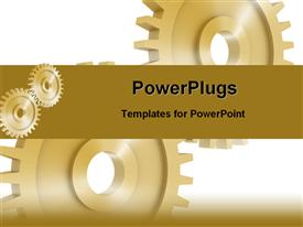 PowerPoint template displaying shiny brown gears on white background