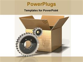 PowerPoint template displaying gears and packing box, logistics, manufacturing